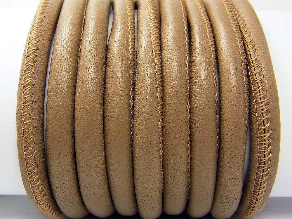 20 cm Nappaleder, 6 mm, rund genäht, helltaupe<br />2,00 €
