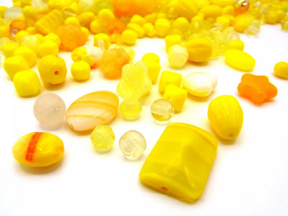 100 g Böhmische Glasperlen, gelbe Mischung, SUNSHINE<br />3,90 €