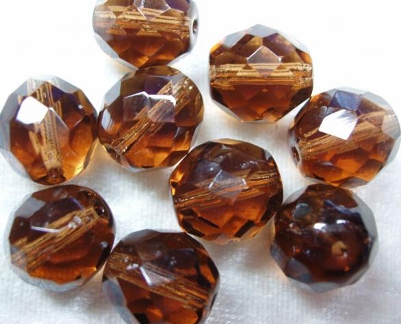 10 x Böhmische Glasschliffperlen, 14 mm, dunkelbraun<br />1,90 €
