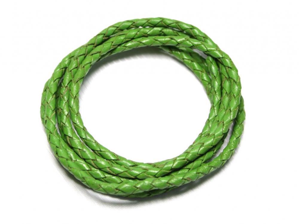 1 Meter Geflochtenes Lederband, 3 mm, grün<br />2,80 €