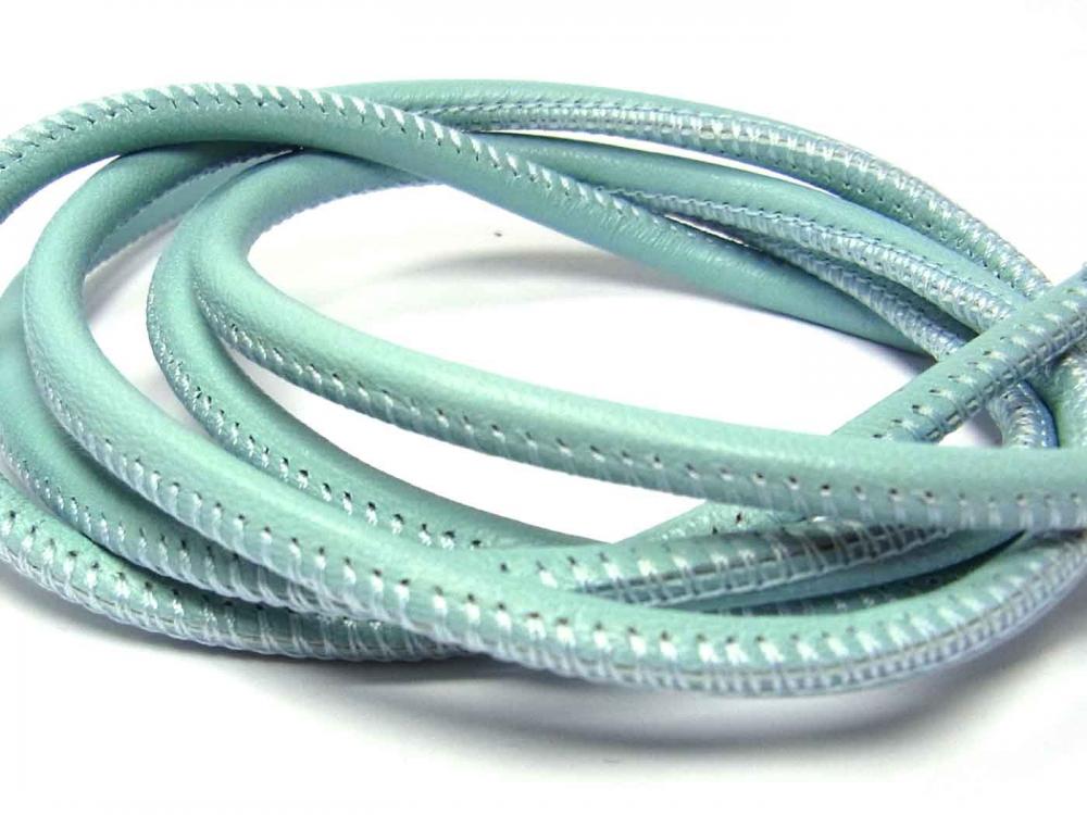 20 cm Nappaleder, Lederband, 4 mm, rund genäht, Farbe: sky