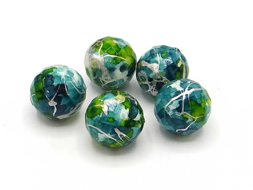 Wunderschöne Fantasie-Perle, 16 mm, facettiert, petrol<br /><span>ab</span> 0,60 &euro;