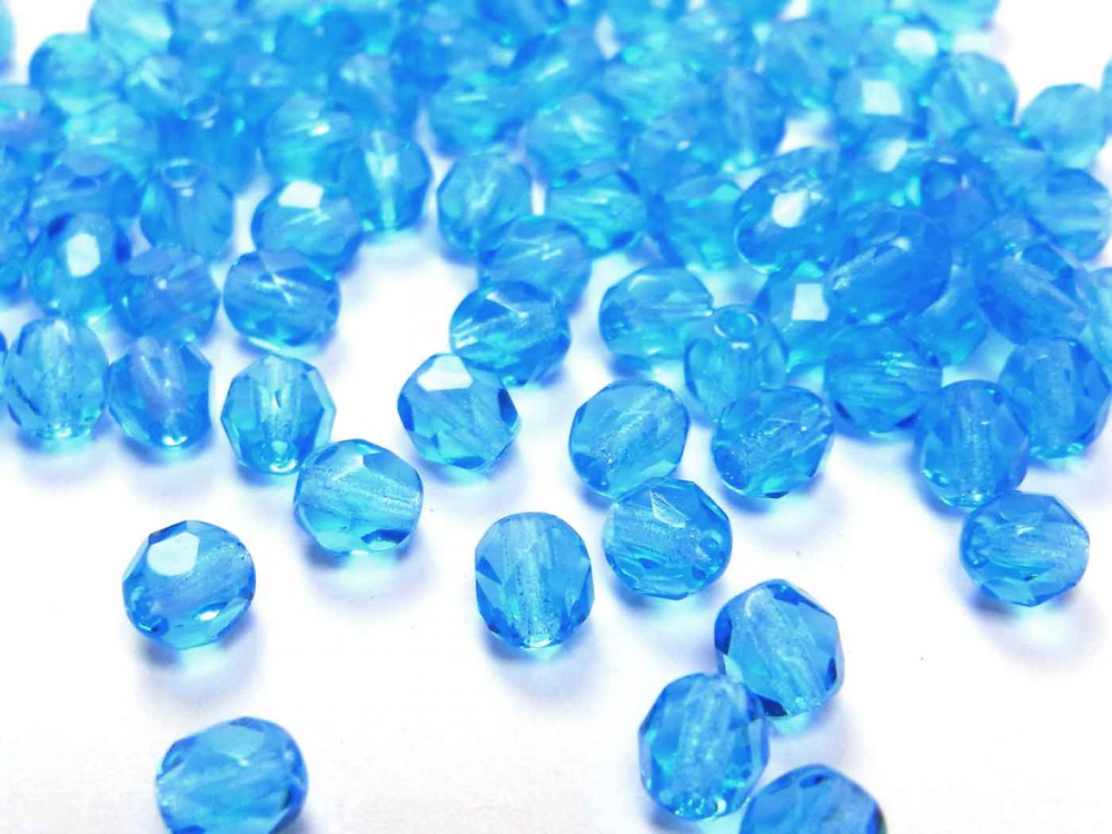 100 x Böhmische Glasperlen, Glasschliffperlen, 4 mm, dark aqua<br />1,90 €