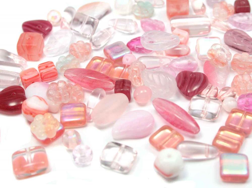 100 g Böhmische Glasperlen, Mix ROSALIE, rosa + pink<br /><span>ab</span> 3,60 €