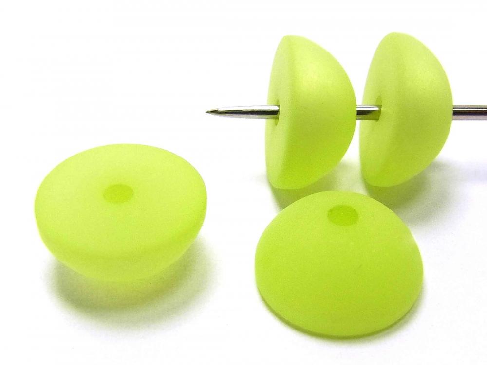 4 Polarisperle, Halbkugel, 12 mm, apfelgrün matt
