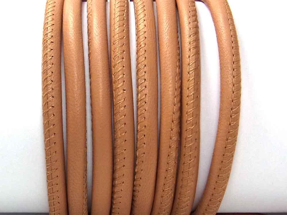 Weiches Nappaleder,  5 mm, rund genäht, nude, 20 cm<br />1,90 €