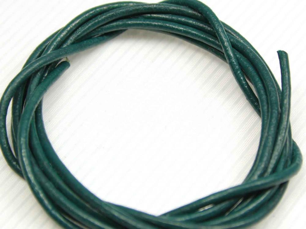 1 Meter Lederband, Rundleder, ca. 2 mm, blaugrün<br />1,00 €