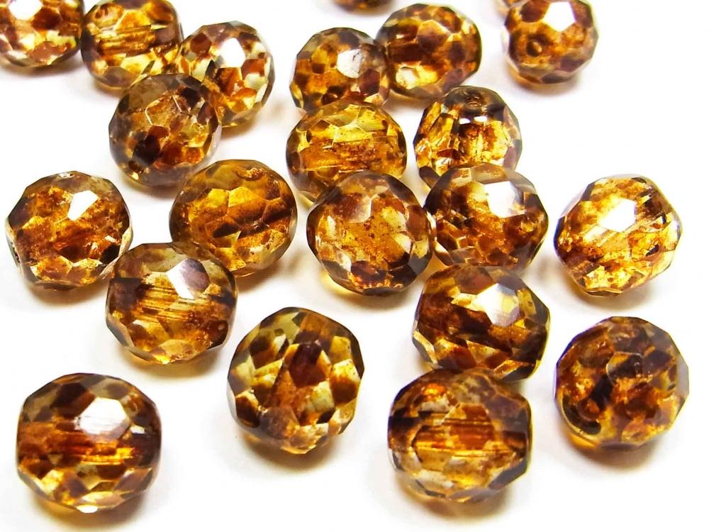 20 x Böhmischse  Glasschliffperlen, 10 mm, braun gesprenkelt<br />1,90 €