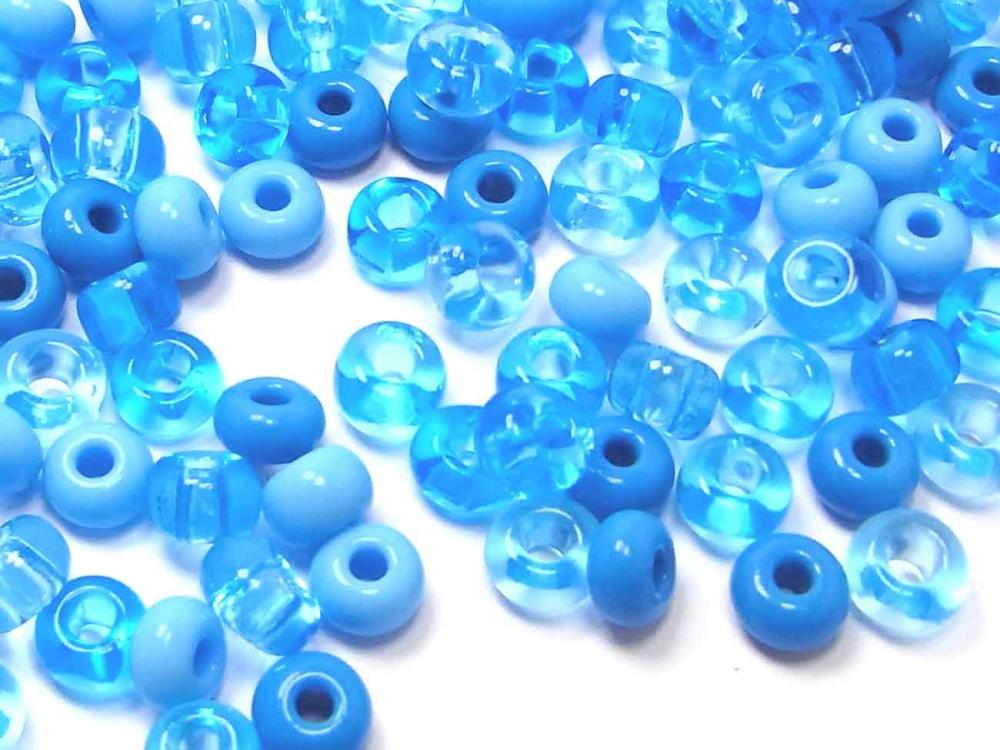 100 x Böhmische Rocailles, 5 - 6 mm, aqua-Mix<br /><span class=