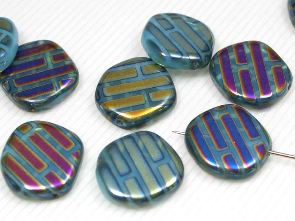 6 x Böhmische Glasperlen, Scheibe 20 mm, aqua mit Metallic-Veredlung<br />1,60 €