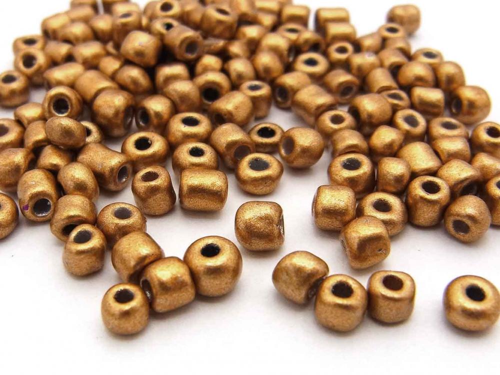 20 g  Rocailles,  4 mm, Größe 6/0, Farbe: goldbraun metallic<br />1,30 €