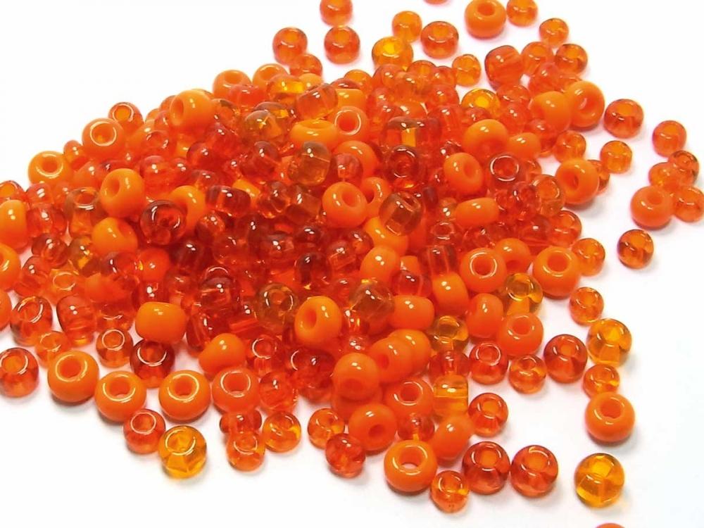 20 g Böhmische Rocailles,  4,5 - 6 mm, orange Mischung<br />1,30 €
