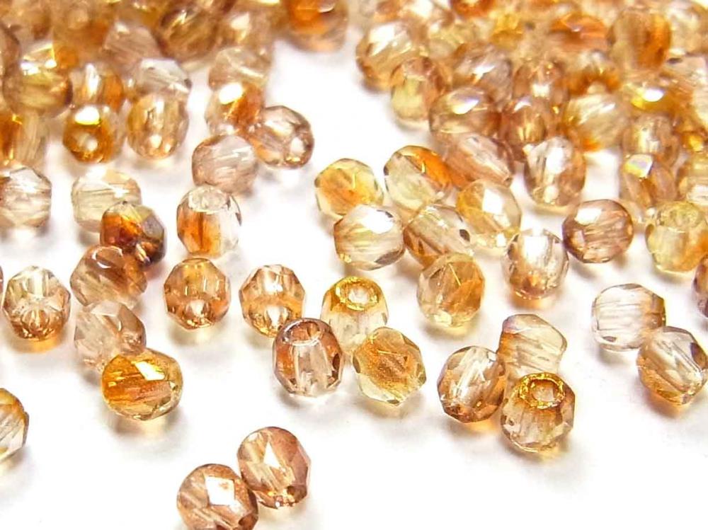 100 x Böhmische Glasperlen, Glasschliffperlen, 3 mm, kristall-goldbraun Lüster<br />1,50 €