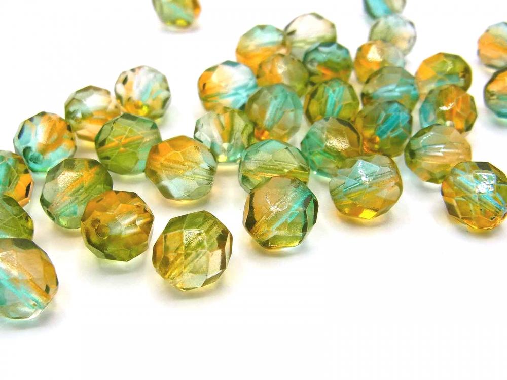 40 x Böhmische Glasschliffperle, 6 mm, Farbverlauf grün-topas<br />1,90 €