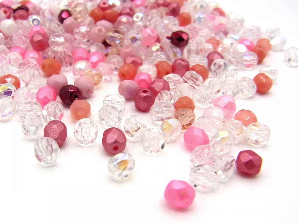 100 böhmische Glasperlen, Glasschliffperlen, 4 mm, Mix ROSABELLA