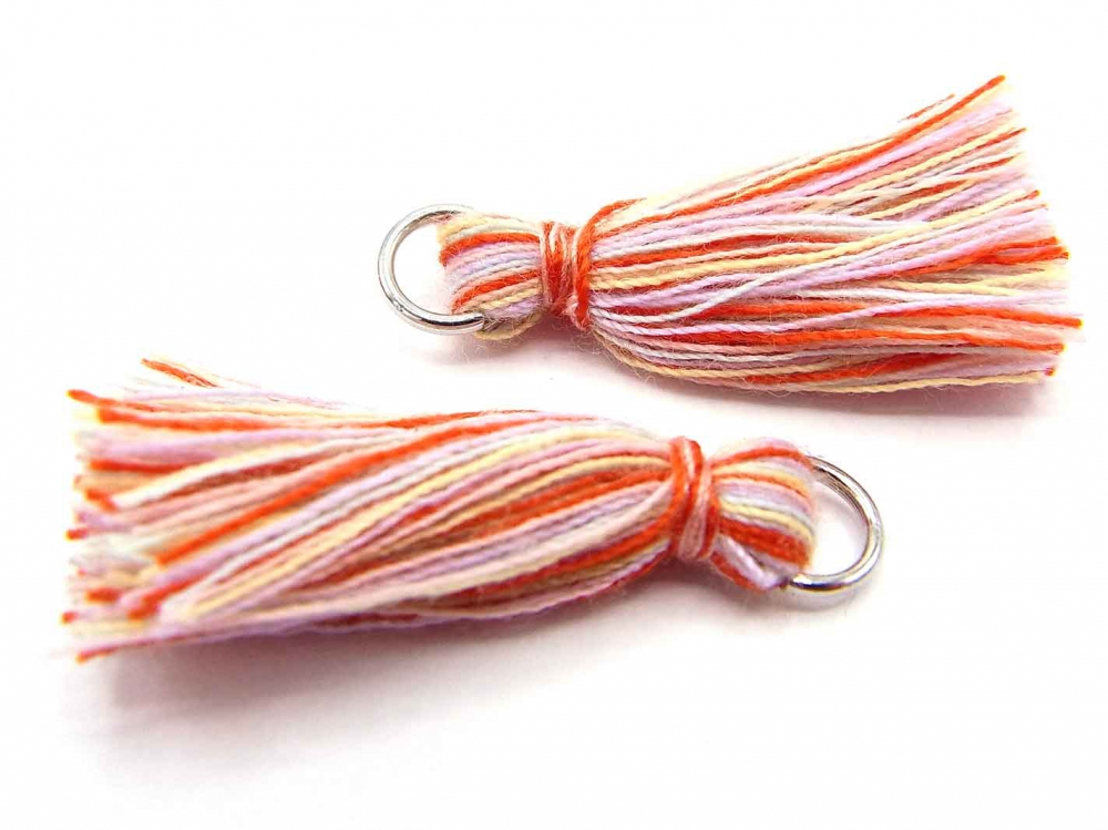 2 x Quaste, Troddel, Baumwollgarn, mit Öse, 25-30 mm, multicolor<br />1,00 €
