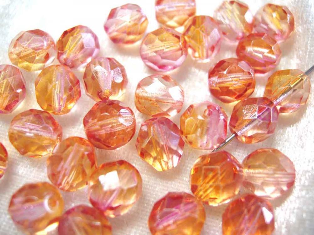 20 Böhmische Glasschliffperlen, 8 mm, pink-orange<br /><span>ab</span> 1,65 €