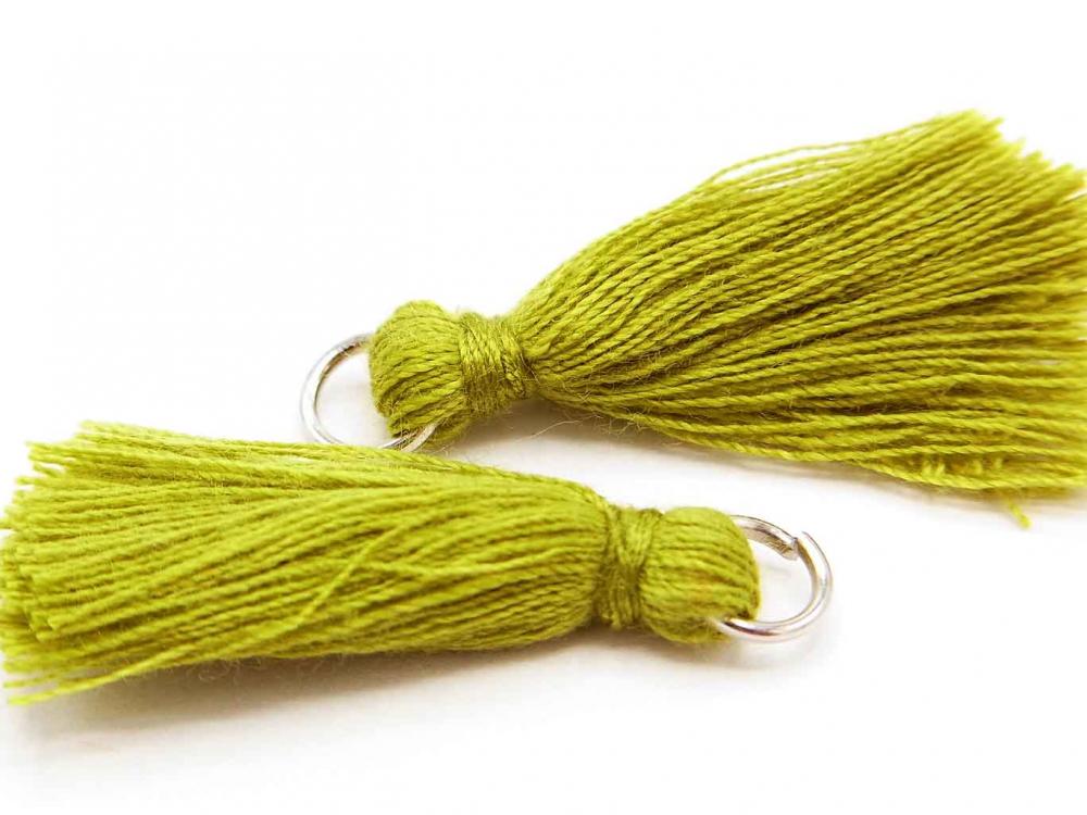 2 x Quaste, Troddel, Baumwollgarn, mit Öse, 25-30 mm, oliv<br />1,00 €