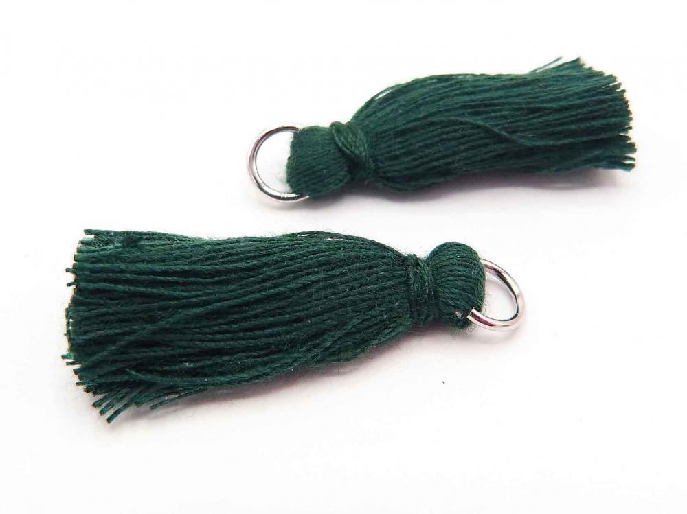 2 x Quaste, Troddel, Baumwollgarn, mit Öse, 25-30 mm, dunkelgrün<br />1,00 €