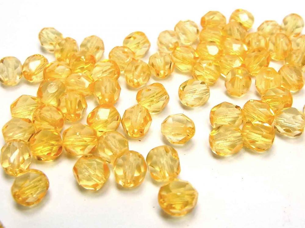 40 x Böhmische Glasschliffperlen, 6 mm, goldgelb<br />1,90 €