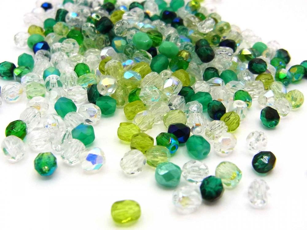 100 Böhmische Glasperlen, Glasschliffperlen, 4 mm, Mix WALDFEE
