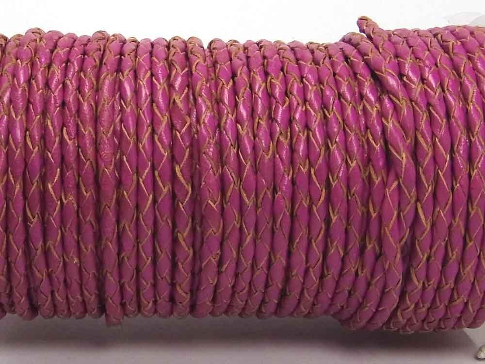1 Meter Geflochtenes Lederband, 3 mm, erika