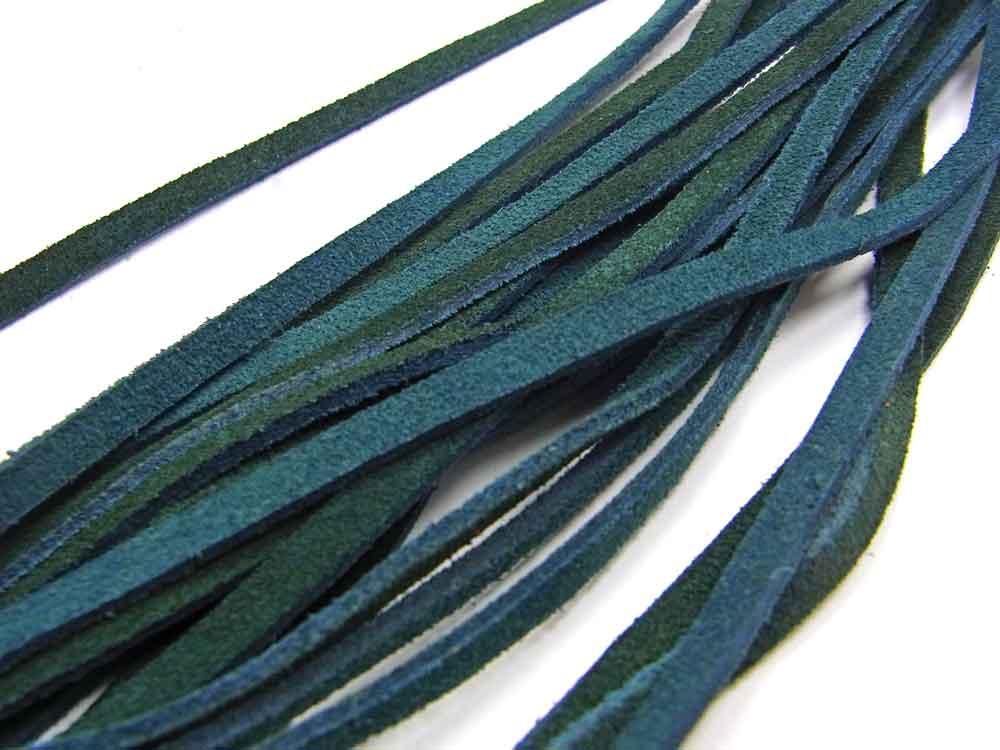 1 Meter Wildleder Band, Top Qualität, 4 x 2 mm, zweifarbig blau-grün<br />1,70 €