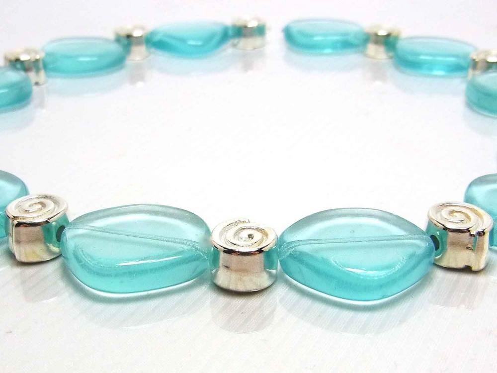 10 Böhmische Glasperlen, große Scheiben, 21 mm, blue zirkon